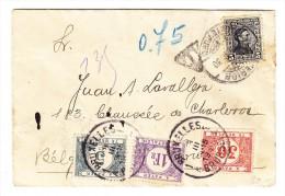 Uruguay Brief Montevideo 1930 Nach Belgien Und Retour 1 + 0.30 + 0.05 Fr. Belgische Portomarken - Uruguay