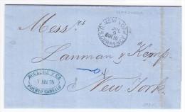 Venezuela Vorphila Brief Mit Inhalt Von Puerto Cabello 26.6.1875 Nach New-York - Venezuela