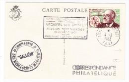 TAAF Archipel Des Crozet 4.2.1962 Sur Carte Postale Messageries Maritimes - Terres Australes Et Antarctiques Françaises (TAAF)