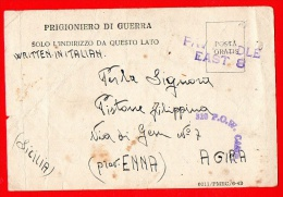 PRIGIONIERO DI GUERRA IN ALESSANDRIA D'EGITTO 1943- PER AGIRA - ENNA -11 - Guerra 1939-45