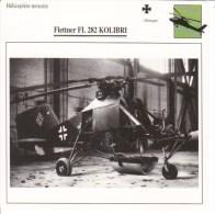 Fiche Technique  -  Hélicoptère Terrestre  (Allemagne)  -  FLETTNER FL 282 KOLIBRI - Fiches Illustrées