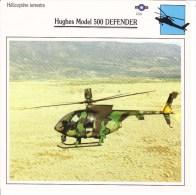 Fiche Technique  -  Hélicoptère Terrestre  (USA)  -  HUGHES 500 DEFENDER - Schede Didattiche