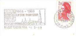 CACHET OBLITERATION FLAMME NEUILLY SUR SEINE LYCEE PASTEUR 1914 1989  ENVELOPPE 16X11 - Marcophilie (Lettres)