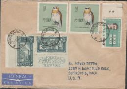 O) 1963 POLAND, OWL, ROMUALD TRAUGUTT, INSURRECTION, UPRISING TRAUGUTT, COVER TO UNITED STATES, XF - Luftpost