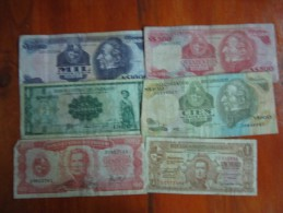17  BILLETES  REGULAR ESTADO  BRASIL URUGUAY PARAGUAY CHILE  SOLD AS IS LOTE LOT - Banknotes