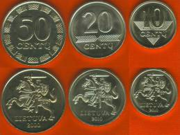 Lithuania Set Of 3 Coins: 10-20-50 Cents 2000-10 UNC - Lituania