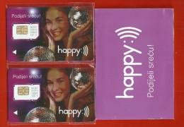 BOSNIA AND HERZEGOVINA 2X.SIM MOBILEPHONE.CARDS HEPY-COMPLETE VITH CERTIFICATE.UNUSED. - Bosnie
