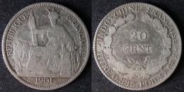 INDOCHINE  20 Cent 1901  SILVER ARGENT 835/1000  INDOCINA  INDOCHINA  PORT OFFERT - Colonias