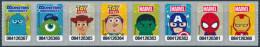 DISNEY & MARVEL STICKER - COMLETE SET OF 8 AS STRIP - TESCO LOTUS EXPRESS, THAILAND - MINT ** - Stickers