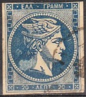 GREECE 1875-1880 Large Hermes Head On Cream Paper With CN 20 L Blue Vl. 65 With Light Spot In Neck - Gebruikt