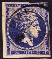 "GREECE 1875-1880 Large Hermes Head On Cream Paper With CN 20 L Blue CN Inverted ""0"" Vl. 65 N - Gebruikt"