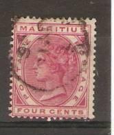 MAURITIUS - 1879 QUEEN VICTORIA 4c DEEP ROSE USED  SG 105 - Mauritius (1968-...)
