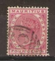 MAURITIUS - 1879 QUEEN VICTORIA 4c ROSE USED  SG 105 (BLUNT SE CORNER) - Mauritius (1968-...)