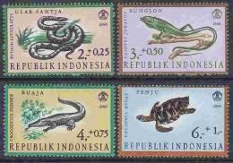 1966 INDONESIE  494-97** Reptiles - Indonesia