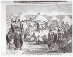 Spahis  Plaine Saint-maur   La Ramba   Lutte  Spahi  ...... Gravure  D Epoque  1863 - Ohne Zuordnung