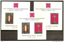 1968 Colombia, Bogotà CONGRESSO EUCARISTICO 3 Foglietti (29) MNH** 3 Souv.sheets - Colombia