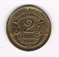 ¨ FRANKRIJK  2  FRANCS 1940 - France