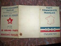 Carte Politique Parti Communiste Français 1945 Caudine François - Communisme - Old Paper