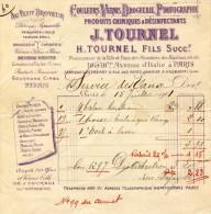 Ets TOURNEL, PARIS - Couleurs Vernis Droguerie Photographie - Facture Du 15 Juillet 1901 - 1900 – 1949