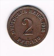 ¨  DEUTSCHES REICH  2 PFENNIG 1912 A - 2 Pfennig