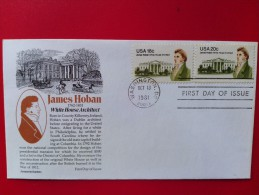 """1981 Joint USA / Ireland James Hoban Death 150th Anniv. US FDC With """"Aristocrat"""" Cachet - Emissions Communes"""