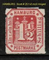 HAMBURG   Scott  # 25*  VF MINT HINGED - Hamburg