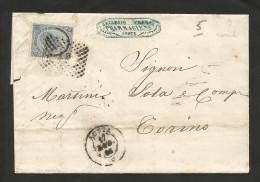 REGNO D' ITALIA - BUSTA AFFRANCATA (1866) - 20 CENT.  Ferro Di Cavallo / AOSTA - FARMACIA - 1861-78 Vittorio Emanuele II
