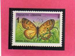 UZBEKISTAN 1992 BUTTERFLIES FARFALLE MELITAEA ACREINA BUTTERFLY FARFALLA MNH - Uzbekistan