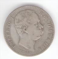 ITALIA 2 LIRE 1886 UMBERTO I AG SILVER - 1861-1946 : Regno