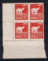 Norway, Mi  115 MNH/** 1925 In 4-block Corner Piece - Ongebruikt