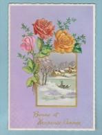 Carte Bonne Et Heureuse  Année  Fleurs Relief , Paysage - Anno Nuovo