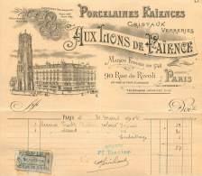 FACTURE LETTRE : PARIS . AUX IRIONS DE FAIENCE . PORCELAINES FAIENCES . 1914 - 1900 – 1949