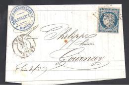 Lettre Avec N° 4 Oblitéré P.C. 2738  Sur Lettre De Rouen - Marcophilie (Lettres)