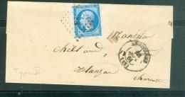 N°14 Type 2 Sur Lsc  Oblitéré Pc 83 ( Angoulème  ) En  Sept  1861 - Ax8106 - Postmark Collection (Covers)