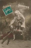 """GUERRE 1914-18 - Jolie Carte Fantaisie Poilu Blessé Avec Infirmière Et Chien De La CROIX ROUGE """"Courage Dévouement"""" - Guerre 1914-18"""