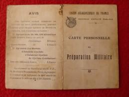 CARTE PREPARATION MILITAIRE UNION VÉLOCIPÉDIQUE DE FRANCE 1925 - Wielrennen