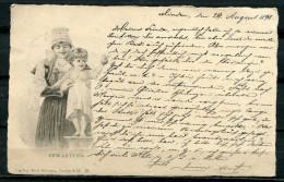 """CPA S/w AK German Empires,DR Künstlerkarte Zeichnung 1898"""" Erwartung,Mutter Mit Kind Und Apfel """" 1 AK Used,bef - Illustrators & Photographers"""