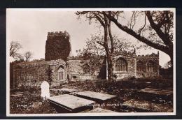 RB 989 - Real Photo Postcard - Parish Church & St. Beuno's Chapel & Graveyard - Clynnog Caernarvonshire - Wales - Caernarvonshire