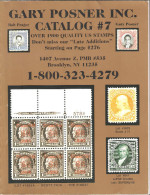 Gary Posner Inc 2005 Public Auction Catalog # 7 Mostly US Postage, Air Mails ,first Issues  ,VF - Catalogues For Auction Houses