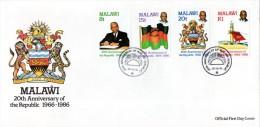 Malawi - 1986 20th Anniversary Of The Republic FDC # SG 751-754 - Malawi (1964-...)