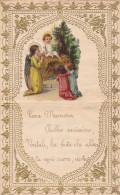 LETTERINA DI NATALE 1930 APPLICAZIONE CROMOLITO NATIVITA' DI GESU' BAMBINO DUE SCANNER -2-0882-21098-099 - Noël