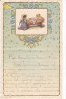 LETTERINA DI NATALE   NATIVITA DI GESU' CON DECORAZIONI DI FIORI IN RILIEVO BORDO DORATO DUE SCANNER -2-0882-21105-104 - Kerstmis