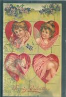 2 Cartes - Relief - Gaufrée - Embossed - Prage - Anges - Tâchées - Anges