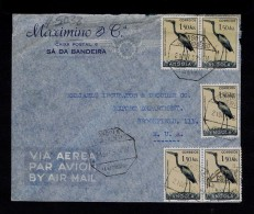 """ Openbiill  (stork) "" Birds Oiseaux Aves Pajaros 5x 1.50AGS Angola Portugal Cover 1951 #5038 - Non Classés"