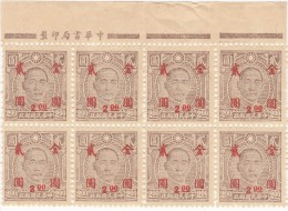 SI53D Cina China Chine  Block Of 8 Board Sheet Japan Occupation MH Overprint RED - 1941-45 Cina Del Nord