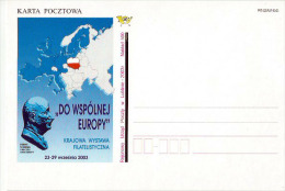 Poland Pologne, Robert Schuman, French Statesman. European Union. Stationery Issued By Post Directorate In Lublin 2003. - European Community