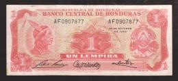 HONDURAS BANKNOTE 1 Lempira 1968 Pick 55a Scarce - Honduras
