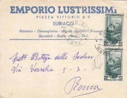 12  Italia Al Lavoro Lire 10 X 2  Emporio Lustrissimi Subiaco. - 1946-60: Marcophilia