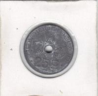 25 CENTIMES Zinc Léopold III 1943 FR-FL  Qualité+++++++++++++++ - 1934-1945: Leopoldo III