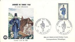 GARD, BESSEGES Enveloppe 1er Jour De Lajournée Du Timbre Du 16 Mars 1968 - FDC
